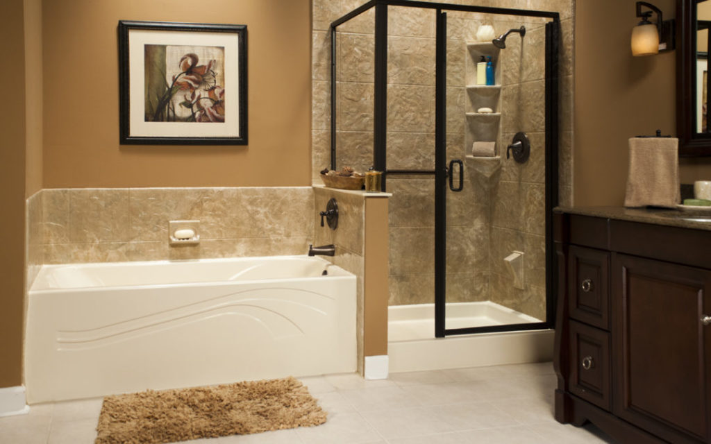 Almond Wave Bath and Shower Base with Capri Walls and Oil